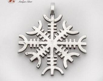 Vintage Figural Snowflake Pendant Sterling Silver