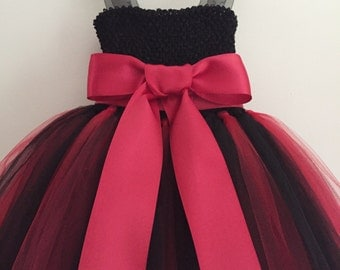 Red & Black Tulle Flower Girl / Party Dress, Red and Black Wedding, Fluffy Tulle Dress