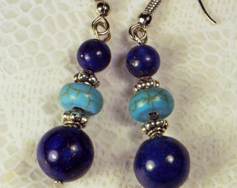 """Cynthia Lynn """"END OF SUMMER"""" Blue Lapis Lazuli and Turquoise Howlite Beaded Silver Earrings 2 inches"""