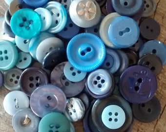 Vintage Buttons: Lot of 100 Blue