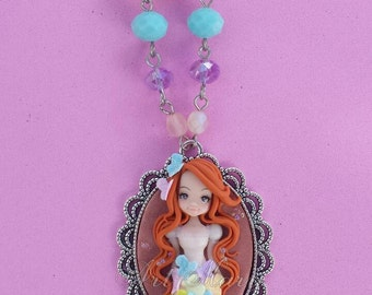 Girl with butterflies dress fimo, polymer clay