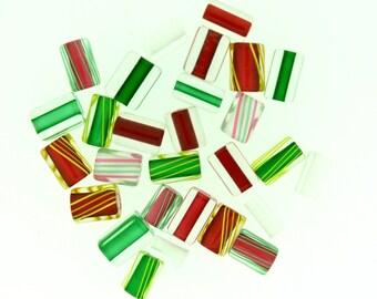 Furnace Glass Beads, Christmas Mix, Medium mixed size by Virginia Wilson Toccalino, 1 oz