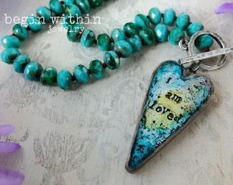 Affirmation Necklace / I Am Loved Heart Pendant Necklace / Spiritual Necklace / Affirmation Jewelry