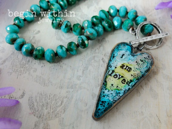 Affirmation Necklace / I Am Loved Heart Pendant Necklace / Spiritual Necklace / Affirmation Jewelry