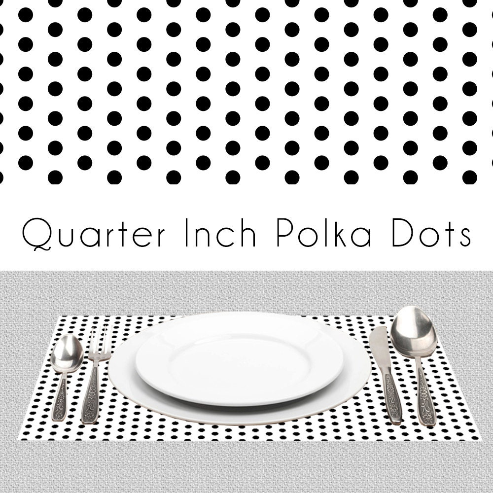 polka dots black white paper placemats bw placemats book of. Black Bedroom Furniture Sets. Home Design Ideas