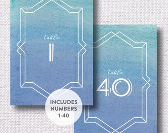 INSTANT DOWNLOAD Wedding Table Numbers / Table Number Printable / Watercolor Table Number