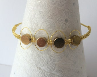 Gold Pyrite macramé bracelet