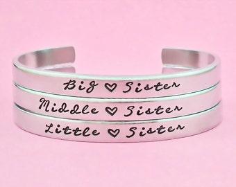 Big Sister/Middle Sister/Little Sister - Hand Stamped Bracelets Set( 3 Bracelets), Sisters Best Friends BFF Bracelets, Personalized Gift