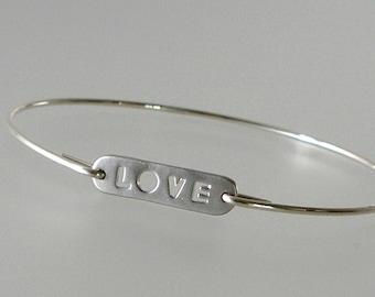 Silver LOVE Bangle Bracelet, Silver Bangle Bracelet, Wedding Bracelet, Bridesmaid Gift Ideas (276S)