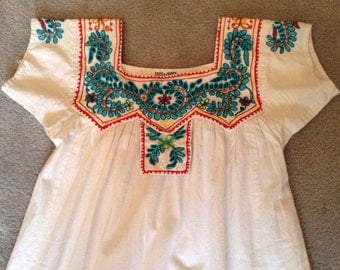 Vintage Embroidered Boho Hippie Dress India 70s
