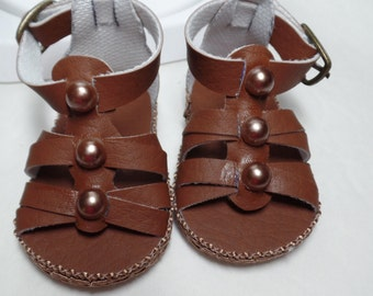"""Medium Brown Sandals-- for 18"""" Dolls--Shown on my American Girl Doll"""