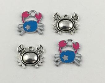 4 sea crabs charms enamel silver tone 16mm #CH 309-1