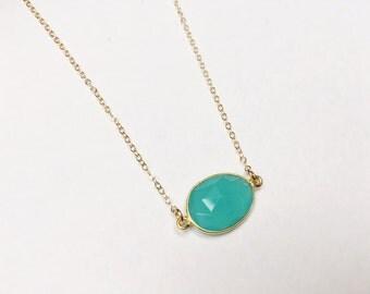 Aqua Bezel Necklace