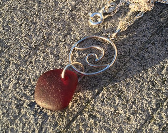 Wave necklace, red sea glass necklace, Nami necklace, Hawaiian Sea Glass, blue necklace