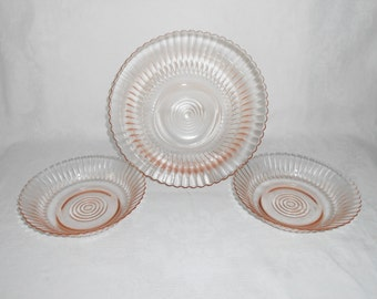 """MacBeth Evans Petalware Pink 9"""" Berry Bowl and Two Cereal Bowls circa 1930-40"""