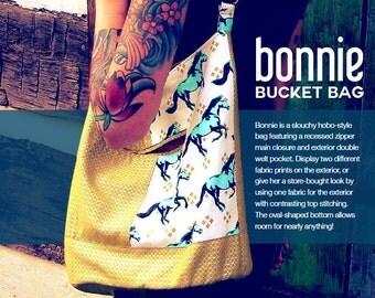 Swoon Patterns: Bonnie Bucket Bag - PDF Bag Purse Bucket Bag Sewing Pattern