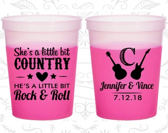 She's a Little Bit of Country, He's a little bit of Rock and Roll, Promotional Mood Cups, Rock and Roll Wedding, Magenta Mood Cups (467)