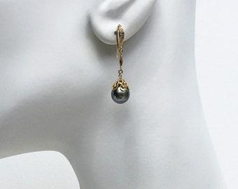 9x10mm Tahitian pearl earrings. Tahitian Drop earrings