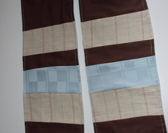 Blue and Brown Patchwork Scarf