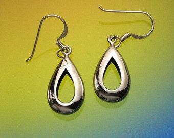 925 Solid Sterling Silver OPEN TEARDROP Earrings-Dangle-Oxidized/Polished