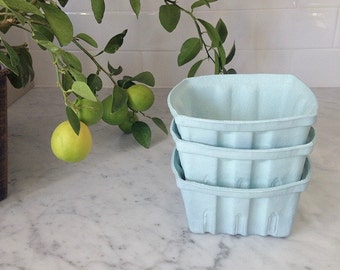 Set of 3 Porcelain Berry Baskets- Large