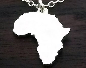 Africa Pendant with Anchor Chain (Sterling Silver)