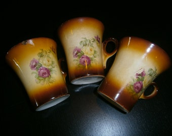 Lemonade Cups, Mugs, China, Roses, Brown Ombre, Vintage, Downton Abby, Edwardian
