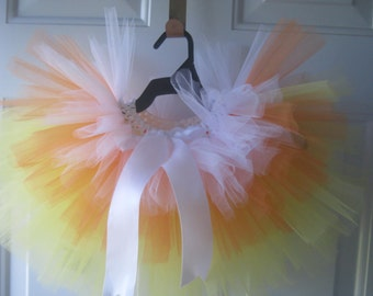 Candy Corn Tutu - baby tutu, baby photo prop, Halloween outfit, girls dress up clothing, made in canada, fall tutu, baby girl clothing