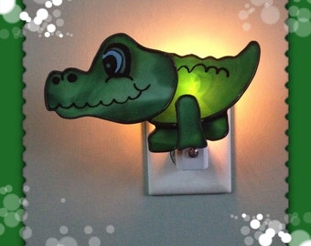 Bedroom Alligator Night Light, Stained Glass Alligator Night Light or Sun Catcher
