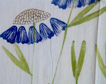 Dish Towel, Hand Printed by Molly Thompson: Harbor Flowers