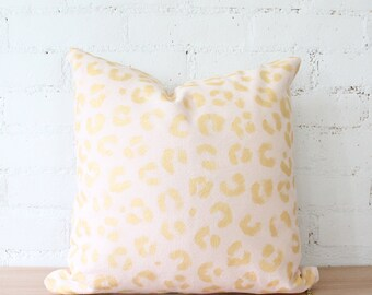 pink gold pillow cover leopard hand painted spots modern throw pillow