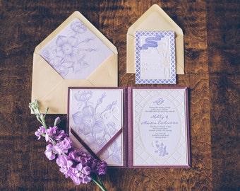 Letterpress Wedding Invitation Suite, Letter press invites, Floral wedding invitation, printed
