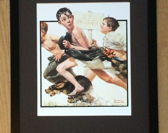 Norman Rockwell Print - No Swimming wall art ,20''x16'' frame