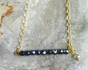 Faceted crystal beaded bar necklace