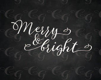 Merry and Bright Christmas Winter  Wood Sign 12 x 12 Stencil #179