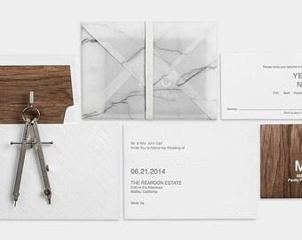 Tree Wood Letterpress Wedding Invitations Set Of 100 Modern Minimal Style