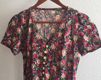 90s Vintage. Grunge. floral. Slit. dress
