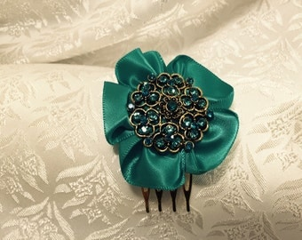 Hair Comb Jade Satin Flower Brooch - Bridal Wedding  Evening  Prom Hair Accessory