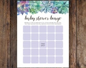 "INSTANT DOWNLOAD Printable DIY Baby Shower Bingo with Purple & Green Boho Succulent Spring / Summer Cactus Design for Girl or Boy (8.5""x11"")"