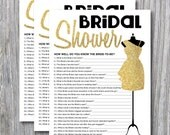 Gold Glitter dress Bridal Shower Game, Quiz, How well do you know the bride-to-be, DIGITAL, Print at Home,  | 81
