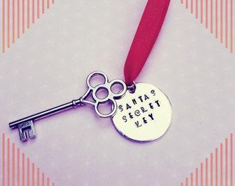 SANTA'S SECRET KEY. Tree decoration. Christmas. Hand stamped. Metal Key. Festive. Noel.