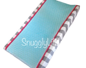 Grey stripe, coral, aqua minky dot changing pad cover