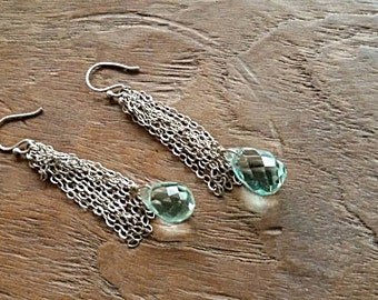 Vintage Aqua Blue Crystal Silver Earrings -  Silver Sterling  Earrings - Dangling earrings