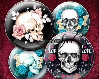 Flower Rose Skull Gothic - Digital Collage Sheet 1.5 inch,1.25 inch,30 mm,1 inch,25 mm Circles Glass Pendants, Bottlecaps,Scrapbooking