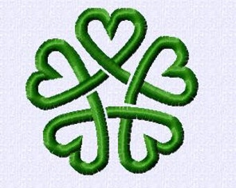 Embroidery pattern - Pentagram of green hearts