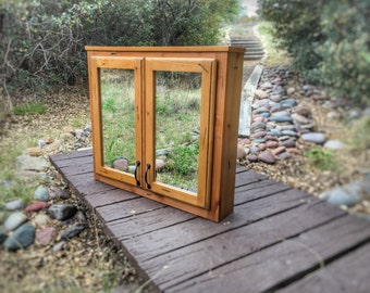 Vintage Distressed Cabinet With Double Sided Mirror