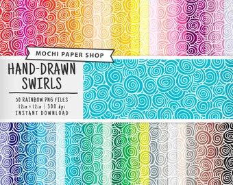 Swirls Digital Paper, 50 Colors Rainbow Hand-Drawn Background Pattern, Swirls Scrapbook Paper, Hand-Drawn Paper Download, PNG Files