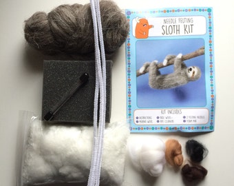 Sloth kit make your own needle felted sloth
