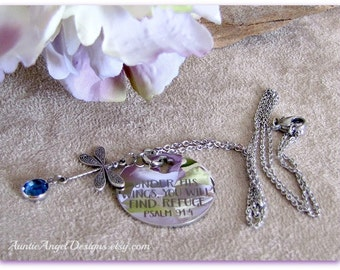 Psalm 91:4 Necklace; Scripture Jewelry; Under His Wings; Christian Birthstone Gift; Christian Jewelry; Dragonfly Religious Charm Necklace