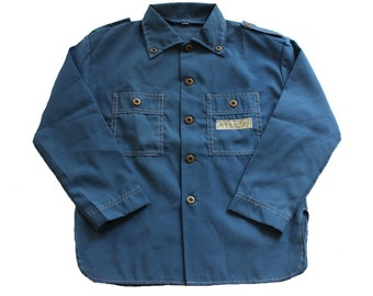FRENCH VINTAGE 70's / kids / shirt / overshirt / petroleum blue colour / base-ball patch / new old stock / size 8 Years